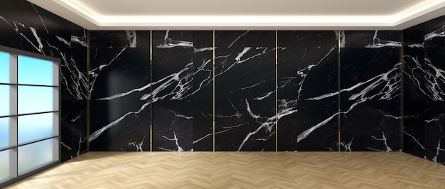 거실 인테리어 검은 대리석 벽 나무 바닥에 흰색 대리석 카운터입니다. 거실 장식 개념입니다.