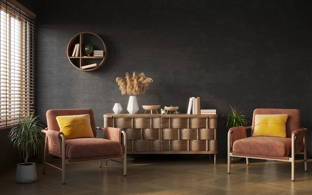 Living room interior composition on black wall background interior mockup 3d render