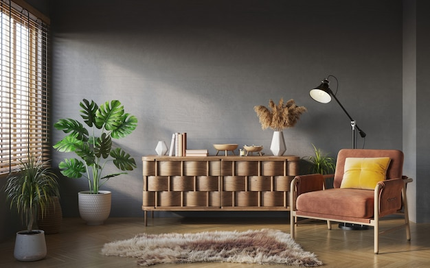 Living room interior composition on gray wall background interior mockup 3d render