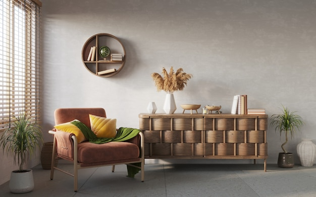 Living room interior composition on white wall background interior mockup 3d render