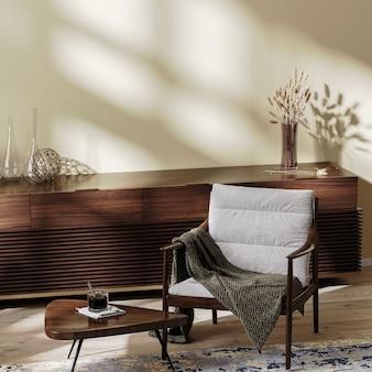 거실 내부, 커피 테이블과 장식이 있는 아늑한 안락의자, 생활 환경, 가정 내부 조롱, 3d 렌더링