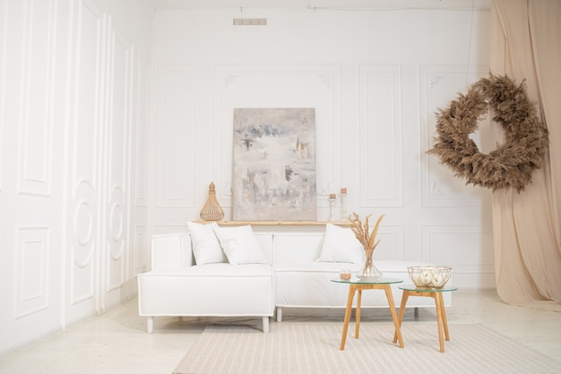 Living room interior design in vintage with sofa and table