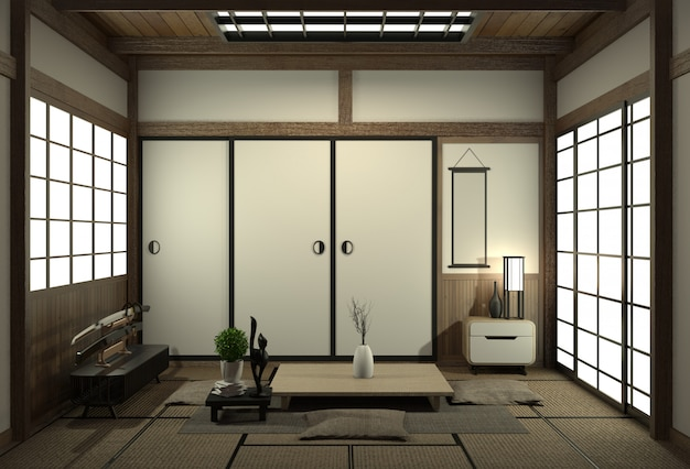 Living room interior design with cabinet in shelf wall design and decoration japan style.