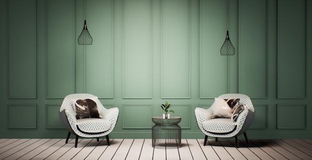 녹색 벽과 흰색 바닥과 거실 인테리어 디자인. 방 모형 세련된, 빈티지 거실 인테리어 3d 렌더링 그림