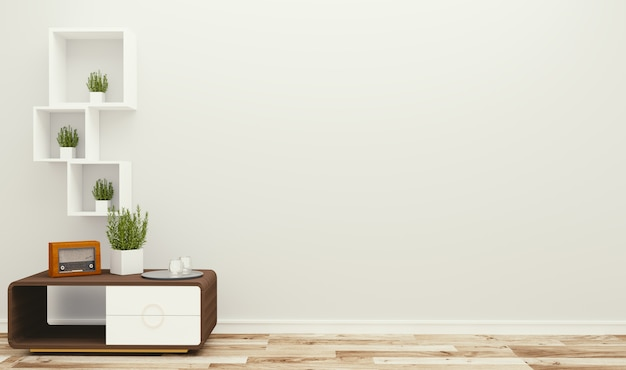 Living room interior on empty white wall background - minimal design, 3d rendering