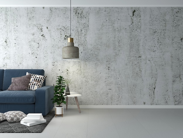 Living room interior grey floor and wall