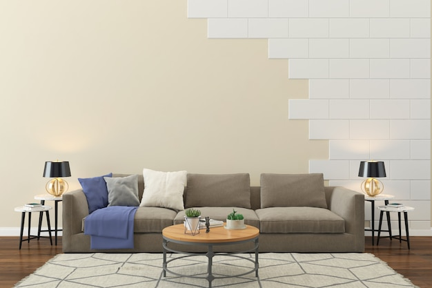 Living room interior house floor template background brick wall