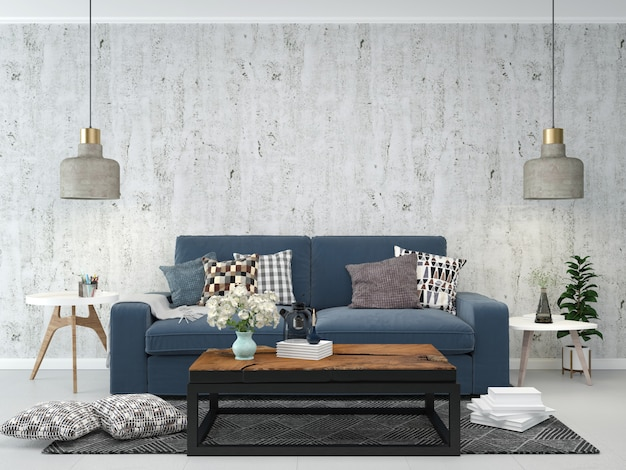 Living room interior house floor template background mock up design copy space