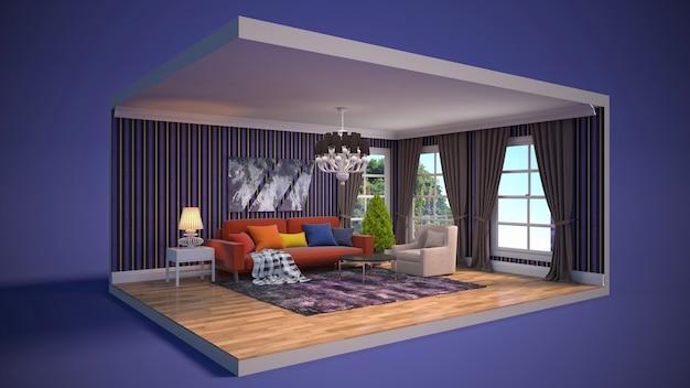 Иллюстрация интерьера гостиной в коробке