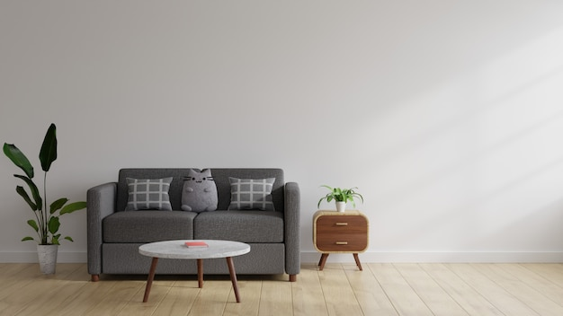 3d 스타일의 거실 인테리어에는 소파에 베개와 인형이 놓여 있습니다.