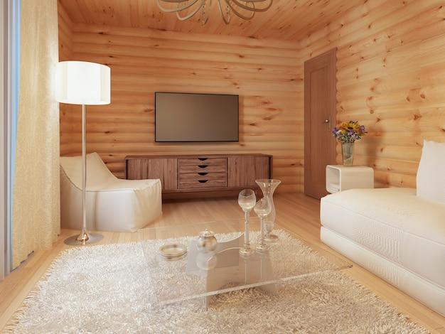 콘솔과 tv가있는 통나무 집의 거실 인테리어, 소파 의자가있는 부드러운 티슈