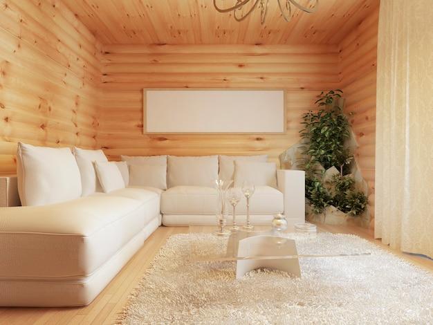 통나무 집의 거실 인테리어 프리미엄 사진