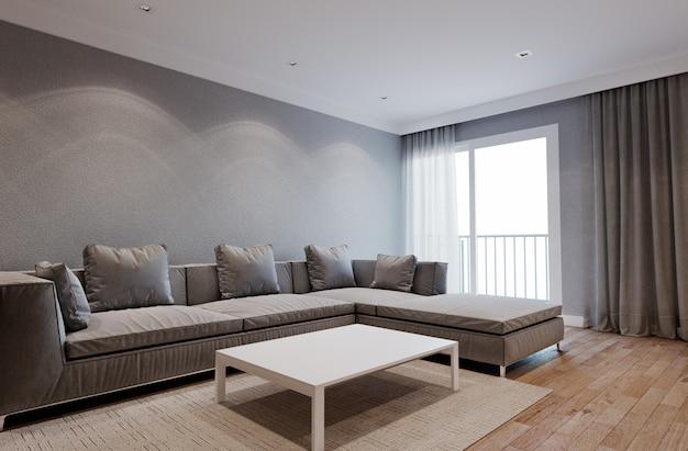 Интерьер гостиной в отеле или квартире с мягким диваном и шторами. 3d рендеринг