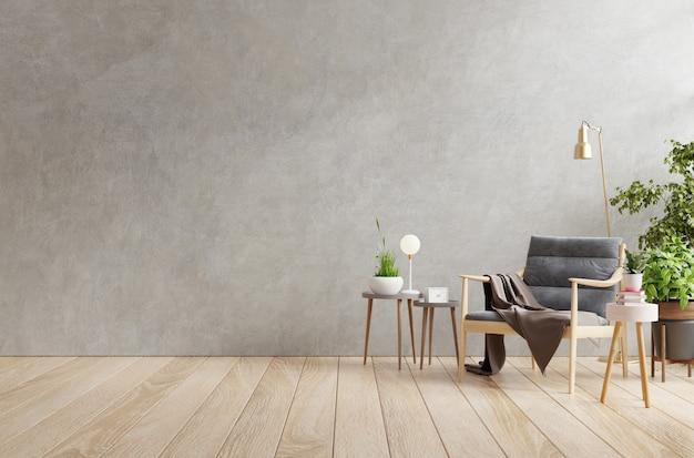 Интерьер гостиной в квартире-лофте с креслом, бетонная стена. 3d визуализация