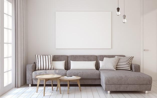 Интерьер гостиной в скандинавском стиле. макет интерьера с плакатом. 3d визуализация.