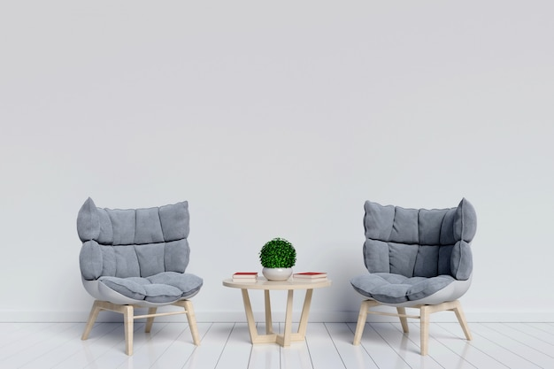Living room interior interior room with nice armchair on white background with. 3d renderi