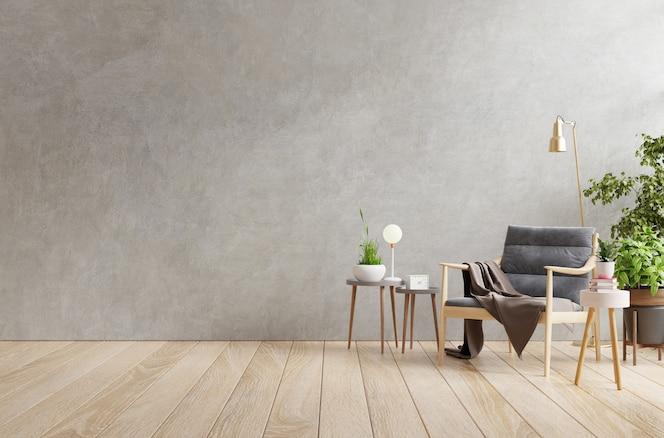Interno del soggiorno in appartamento loft con poltrona, muro di cemento.3d rendering