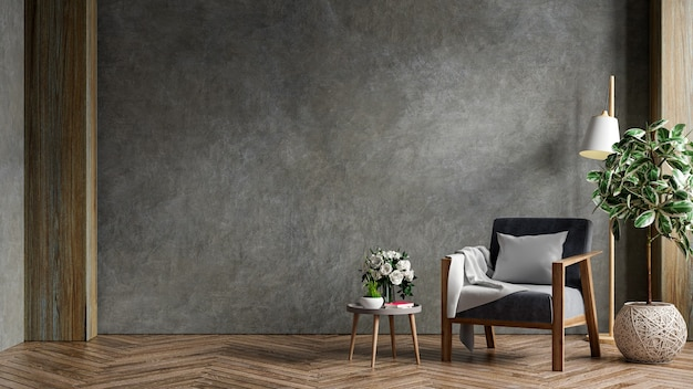 Living room interior in loft apartment with armchair,concrete wall.3d rendering