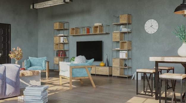 Living room interior loft style 3d render