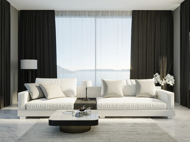 Living room interior mock up, black and white room interior, 3d rendering