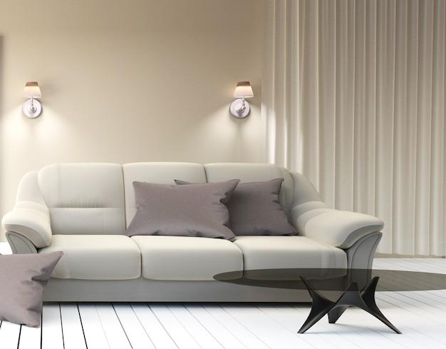 Living room interior - modern contemporary luxury. 3d rendering
