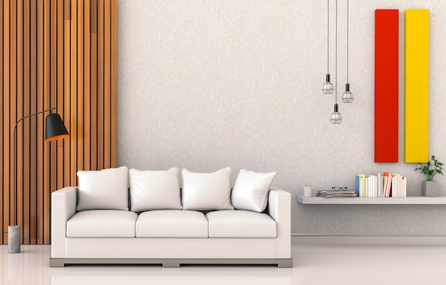 Living room interior in modern style, 3d render