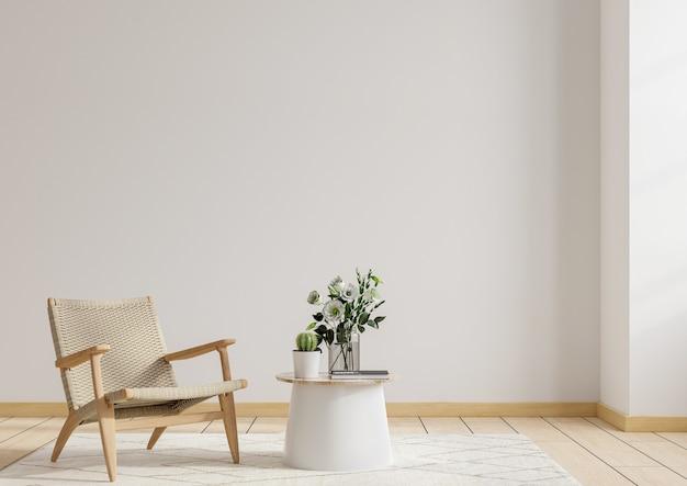 따뜻한 색조의 거실 인테리어 룸 벽 모형, 나무 캐비닛이있는 안락 의자 .3d 렌더링