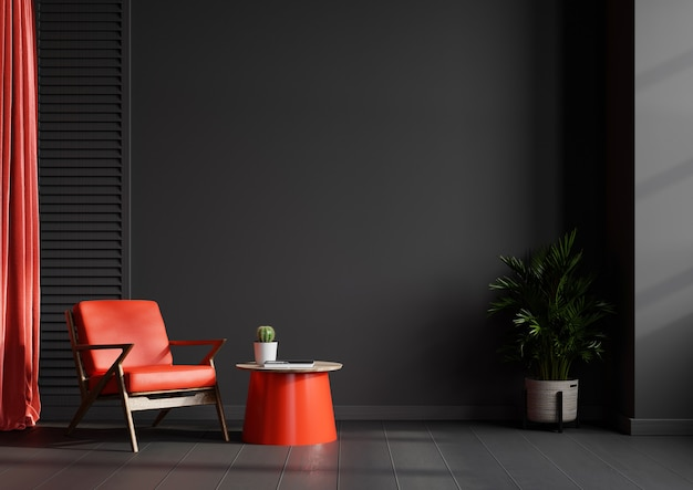 Living room interior wall in black tones with red leather armchair on dark wall.3d rendering