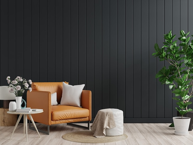 Parete interna del soggiorno in toni scuri con poltrona in pelle sulla parete in legno nera. rendering 3d
