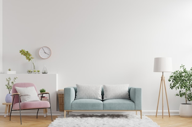 Living room interior wall  have sofa,armchair and decoration,3d rendering