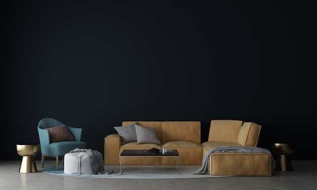 Макет внутренней стены гостиной в теплых нейтральных тонах с декором в современном уютном стиле с диваном и холстовой рамой на белом фоне стены