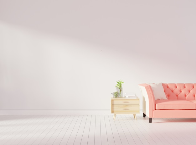 Living room interior wall mock up with pink tufted sofa