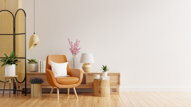 Living room interior wall mockup in warm tones with leather armchair on white wall
