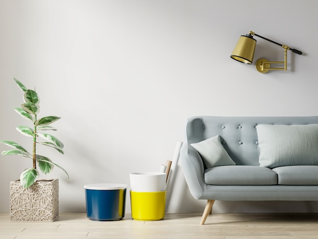 有沙发和枕头的客厅内部墙壁样机在白色背景3d渲染