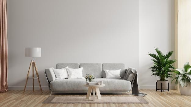 Макет внутренней стены гостиной с диваном с декором на белом фоне. 3d визуализация