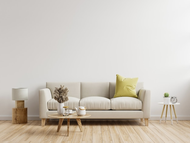 Living room interior wall mockup with sofa with decor on white background.3d rendering