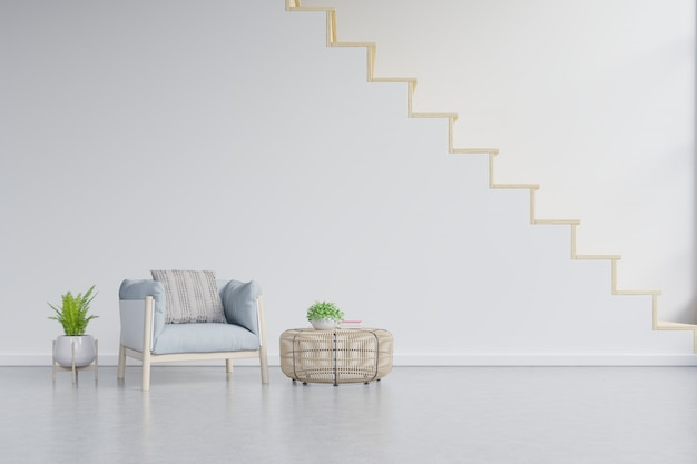 Living room interior wall mockup with tan blue armchair on wall with stairs.