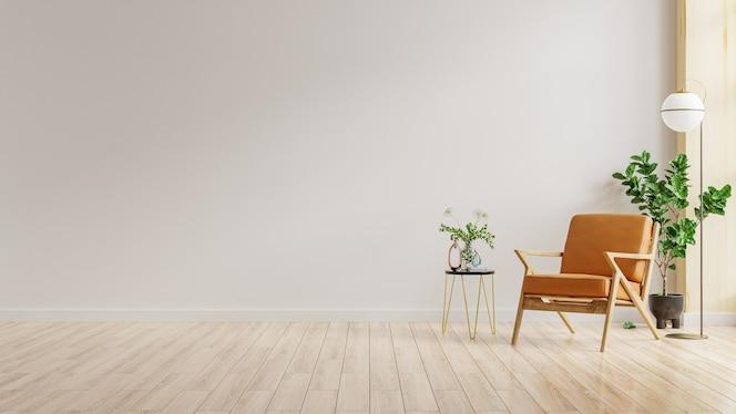 在温暖的色调的客厅内墙与皮革扶手椅子在白色墙壁上.3d渲染