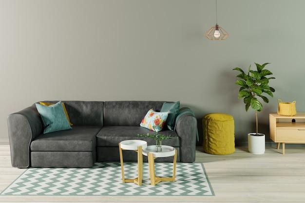 Интерьер гостиной с черным кожаным диваном
