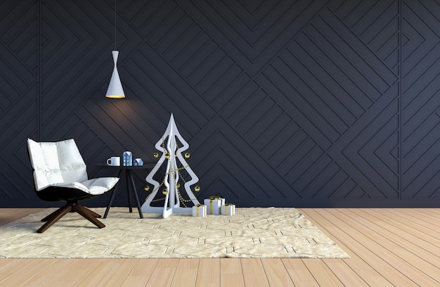 Living room interior with black wall and white christmas tree for christmas holiday