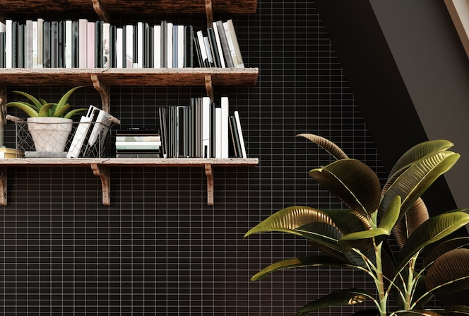 Living room interior with bookshelf, large ficus and black tiled wall