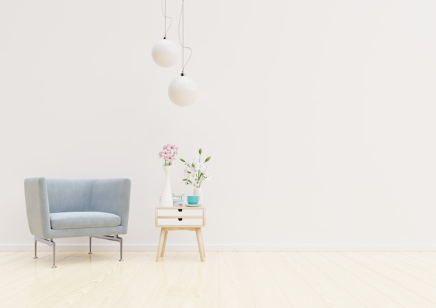 Living room interior with chair, plants, cabinet and lamp on empty white wall background