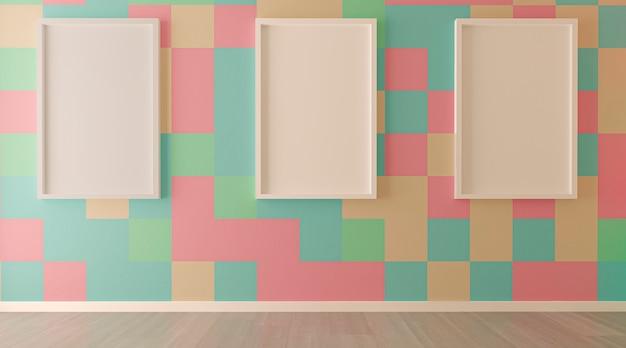 色付きのタイルの壁と空のフレームのあるリビングルームのインテリア