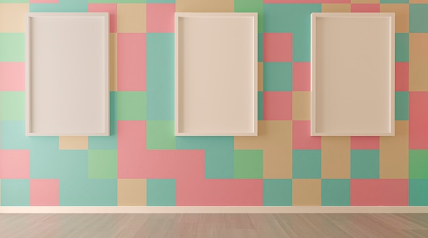 Living room interior with colored tiles wall and empty frames