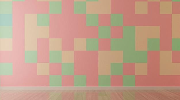 色のタイルの壁とリビングルームのインテリア