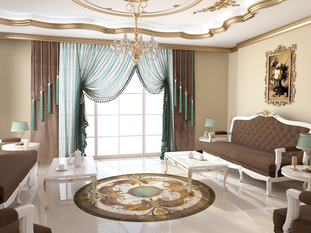 Living room interior with decoration