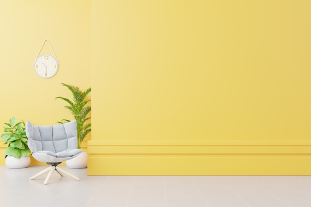 Living room interior with fabric armchair ,lamp,book and plants on empty yellow wall