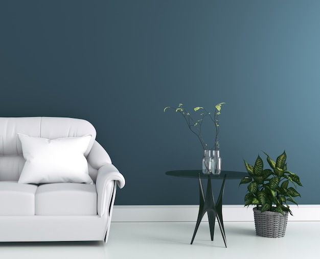 Living room interior with gray fabric sofa and pillows on modern dark wall background