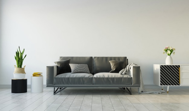 Living room interior with gray sofa on gray empty wall, 3d rendering