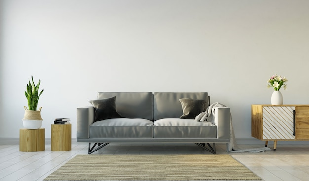 Living room interior with gray sofa on gray wall background, 3d rendering